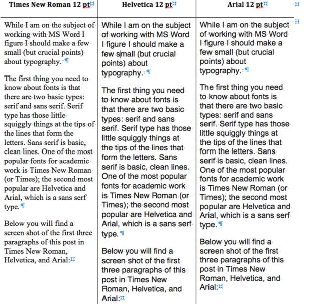 Font comparison 1